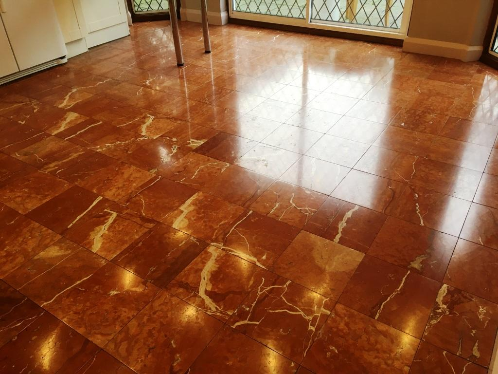 Transforming A Red And Brown Marble Floor In Weybridge Surrey Marble Tile Cleaning And Polishing
